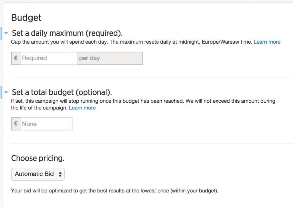 Reklamy naTwitterze - budżet ioptymalizacja