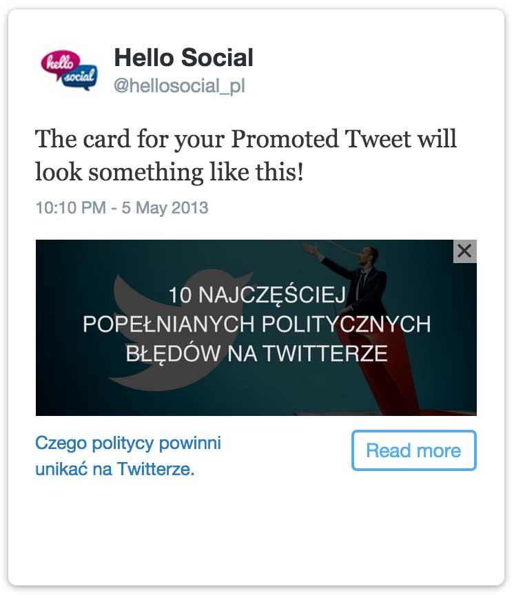 Reklamy naTwitterze - karta