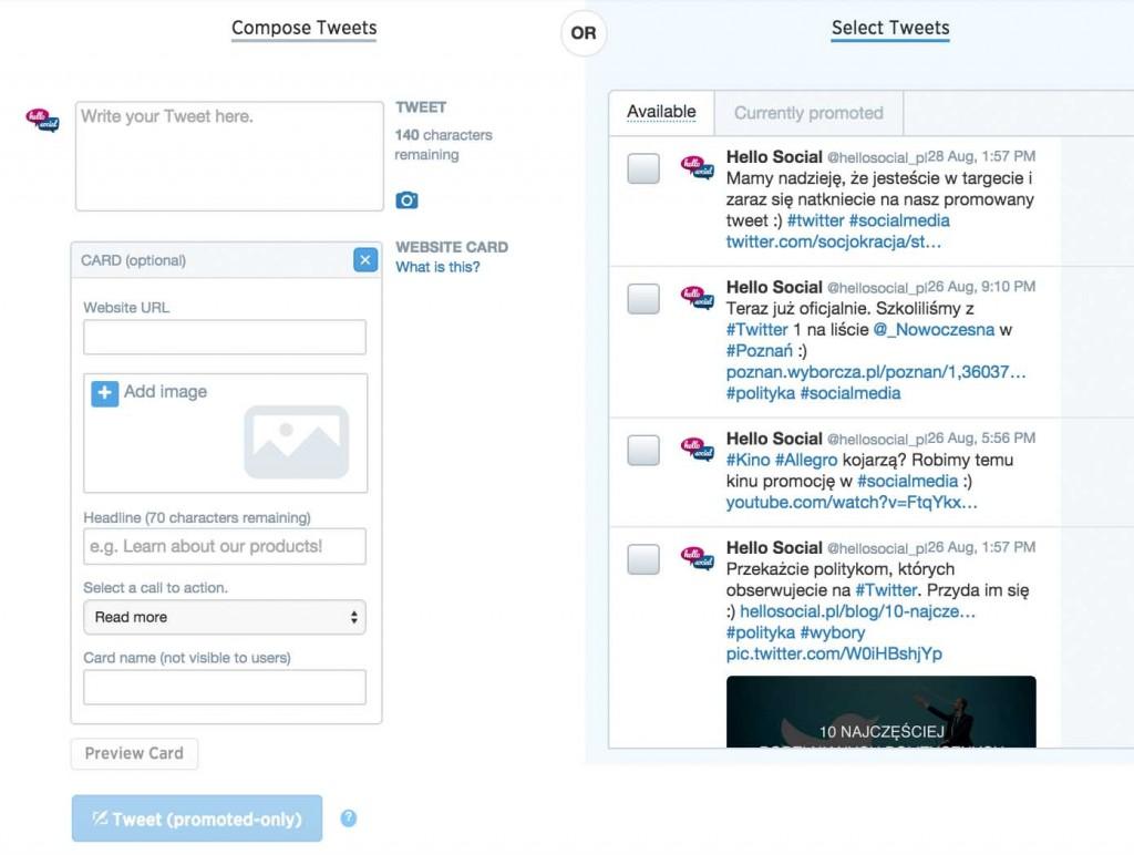 Reklamy naTwitterze - tworzenie sponsorowanego tweeta