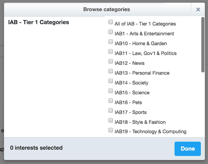 Twitter Audience Platform - kategorie