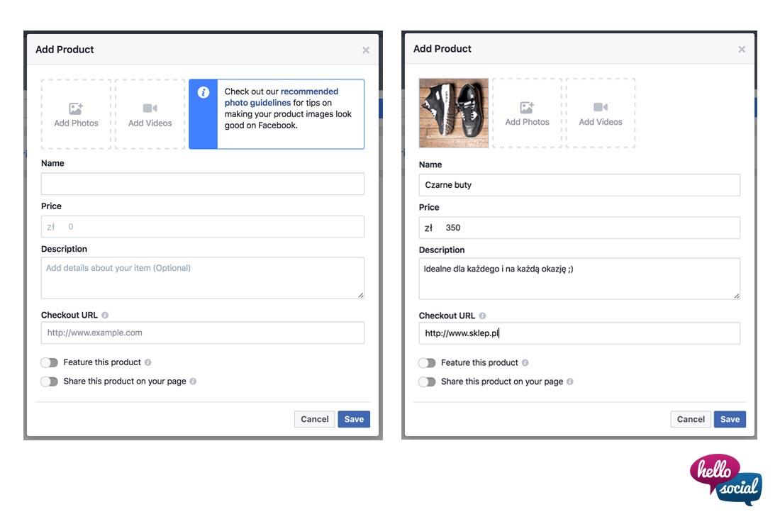 Sklep naFacebooku - jak dodać produkty