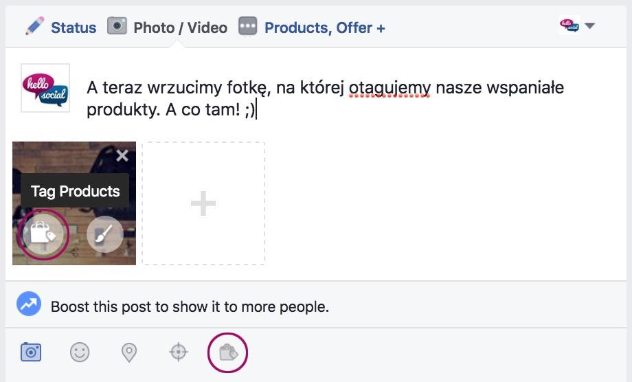Sklep naFacebooku - tagowanie produktów