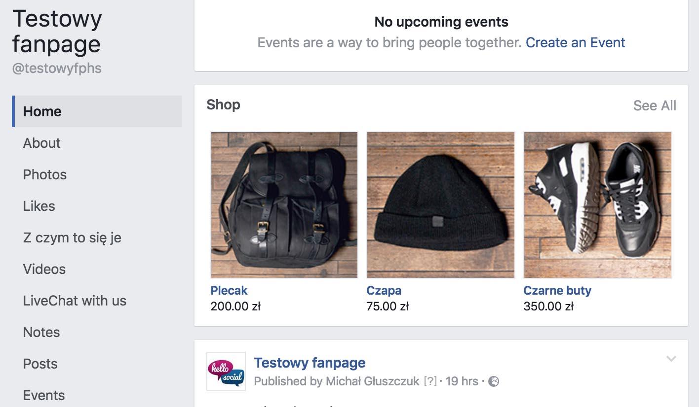 Sklep naFacebooku - strona główna
