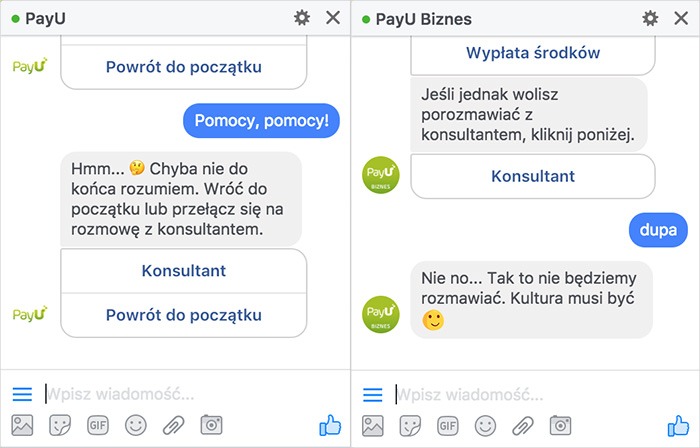Chatbot - wiadomość domyślna