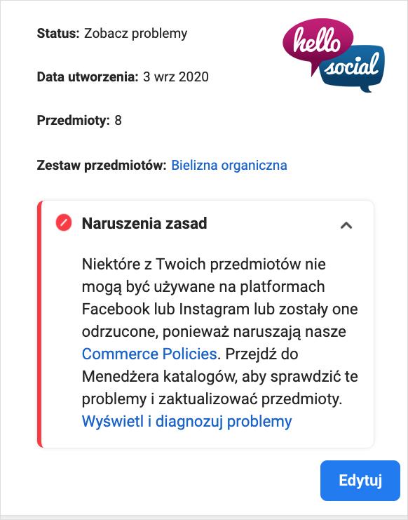 Sklep naFacebboku problem zakcetacją produktów_hello social